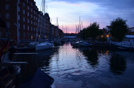 a late-sunset lit canal