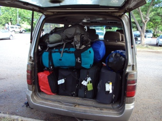 the bottom layer: our luggage. The rest: the other 3 passengers.