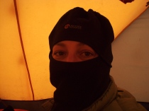 Jill tests the balaclava